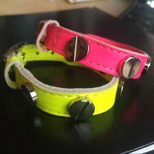 NEW 2 CC Skye Neon Leather Silver Screw Bracelets